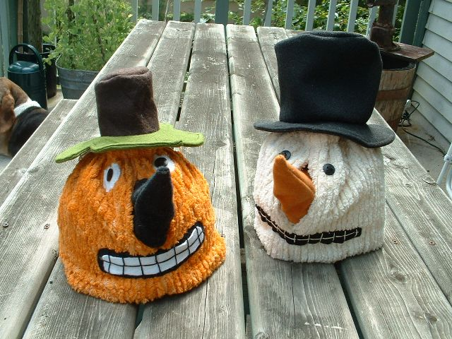 Pumpkin and Snowman Tea Cozies