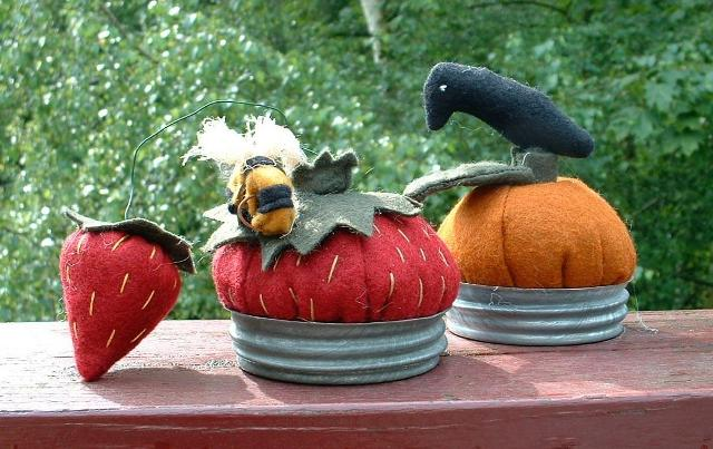 Pumpkin and Strawberry Pincushions